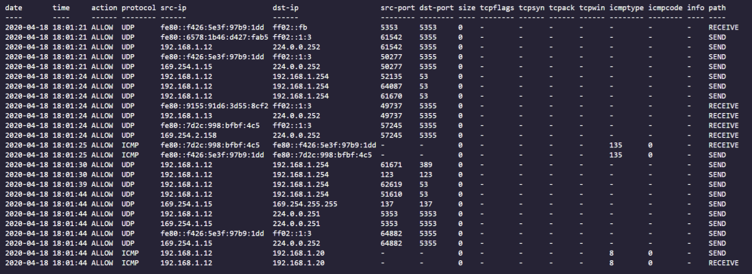 PowerShell output showing formatted Firewall log data in a structured table.