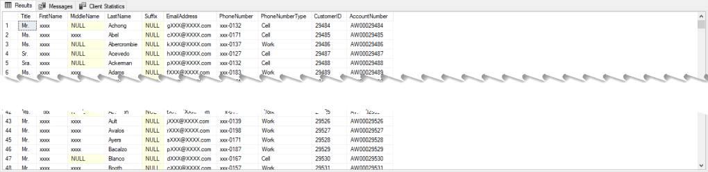 SSMS Result set showing masked and unmasked data for the CustomerId and Account Number columns.